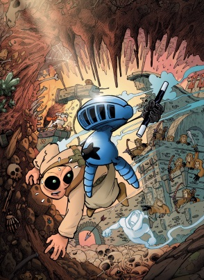 El pequeño héroe azul, en acción